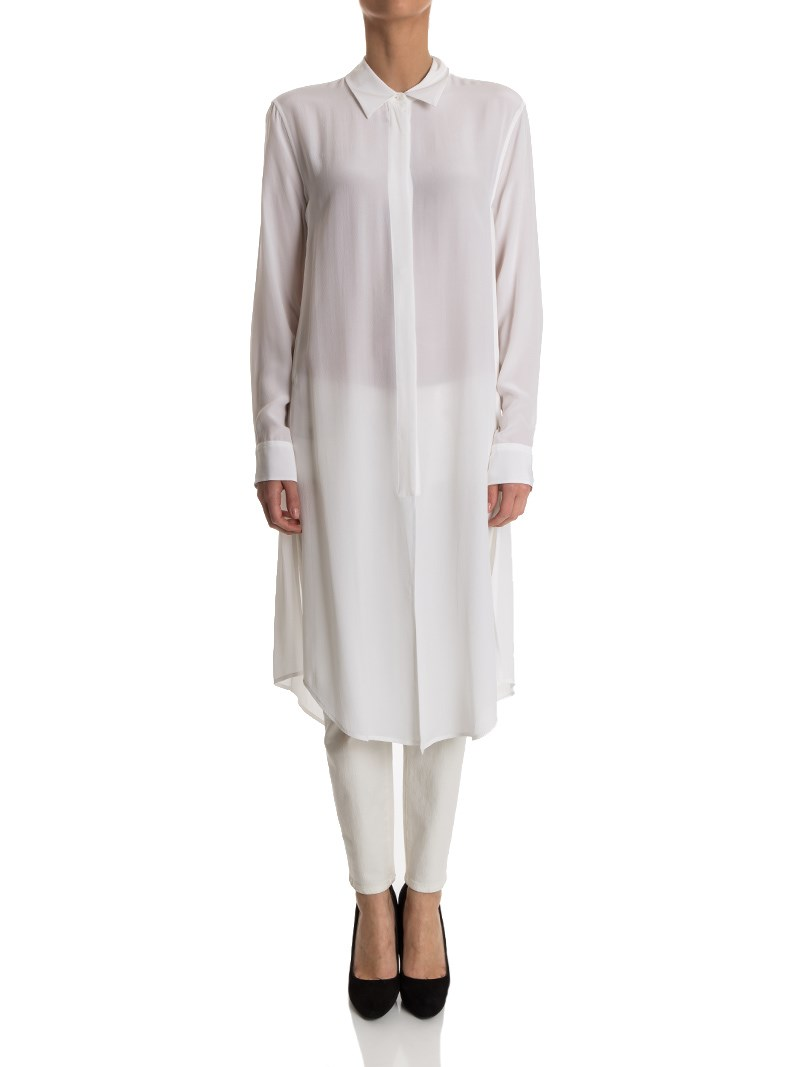 [관부가세포함][이큅먼트] Silk tunic dress (Q23-E631 BRIGHT WHT)